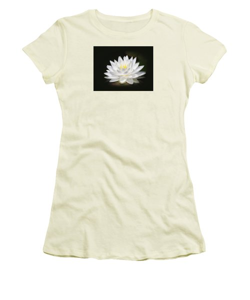 White Petals Glow - Water Lily Women's T-Shirt (Junior Cut) by MTBobbins Photography