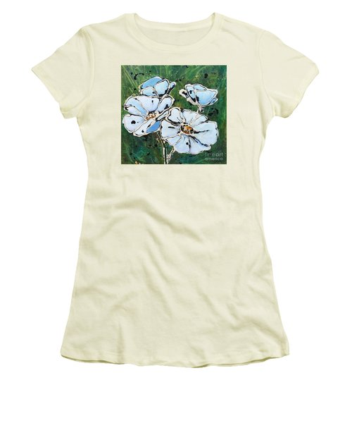 White Poppies Women's T-Shirt (Athletic Fit)
