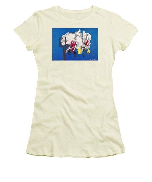 White Purple Phalaenopsis Orchids Women's T-Shirt (Junior Cut) by Valerie Ornstein