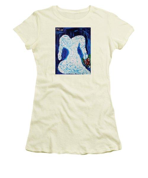 White Wedding Dress On Blue Women's T-Shirt (Junior Cut) by Mary Carol Williams