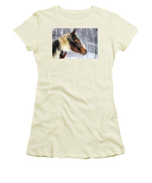 Wild Winter Storm Women's T-Shirt (Junior Cut) by Elizabeth Dow