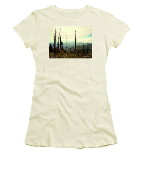 Women's T-Shirt (Junior Cut) featuring the mixed media Wildfire by Desiree Paquette