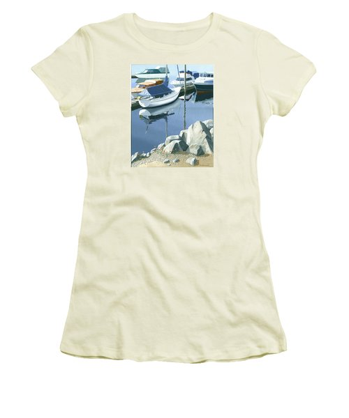 Women's T-Shirt (Junior Cut) featuring the painting Wildflowers On The Breakwater by Gary Giacomelli
