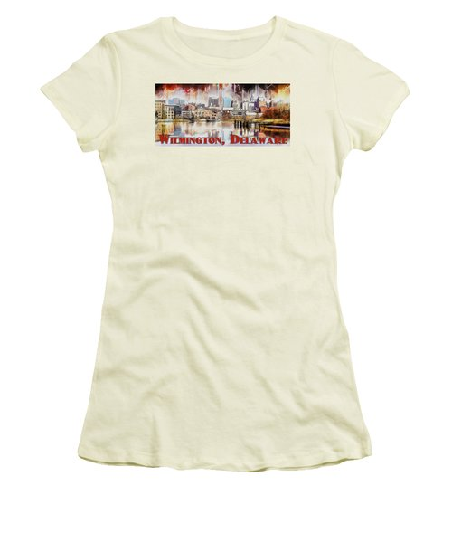 Women's T-Shirt (Junior Cut) featuring the painting Wilmington City Lights by Kai Saarto