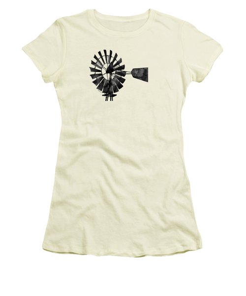 Windmill In Black And White Women's T-Shirt (Junior Cut) by Hailey E Herrera