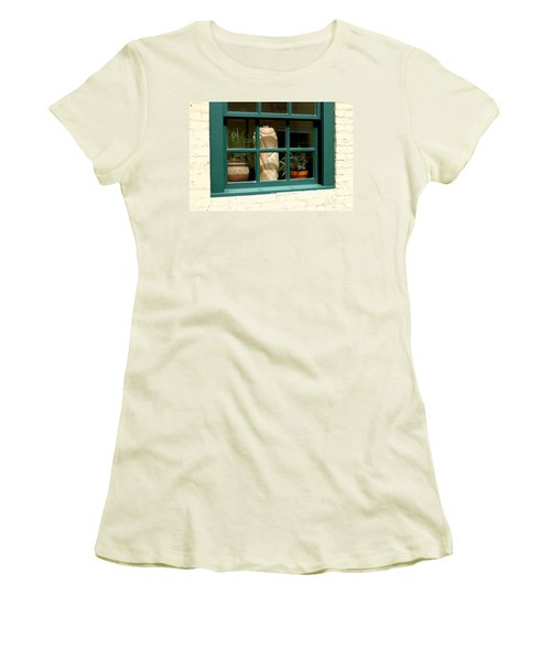 Women's T-Shirt (Junior Cut) featuring the photograph Window At Sanders Resturant by Steve Augustin