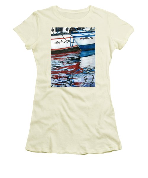 Women's T-Shirt (Junior Cut) featuring the painting Windswept Reflections Sold by Lil Taylor