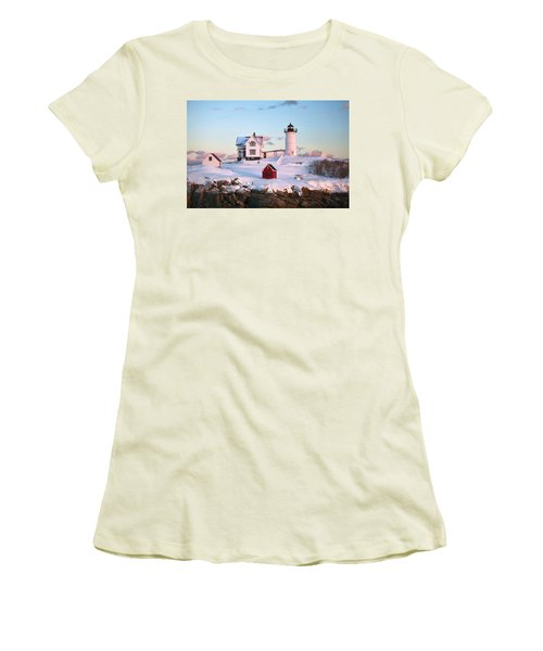 Winter At Nubble Women's T-Shirt (Athletic Fit)