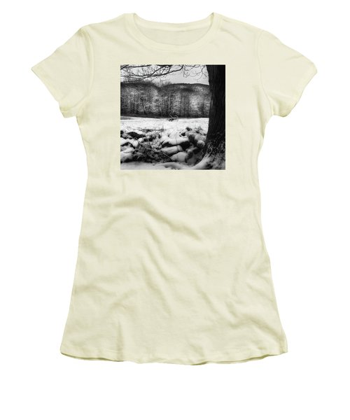Women's T-Shirt (Junior Cut) featuring the photograph Winter Dreary Square by Bill Wakeley