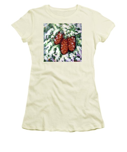 Women's T-Shirt (Junior Cut) featuring the painting Winter Fir Cones by Inese Poga