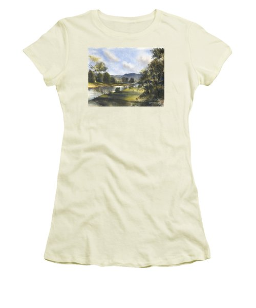 Women's T-Shirt (Junior Cut) featuring the painting Winter In The Bellinger Valley by Sandra Phryce-Jones