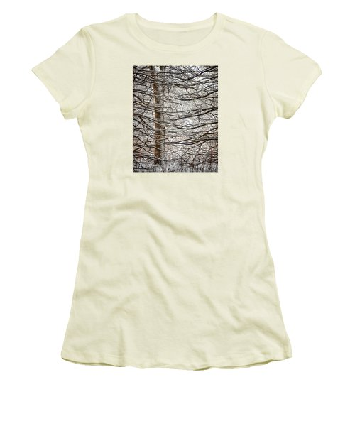 Women's T-Shirt (Junior Cut) featuring the photograph Winter In The Woods by Nikki McInnes