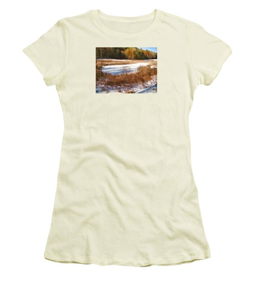 Winter Marsh Women's T-Shirt (Junior Cut) by Betsy Zimmerli