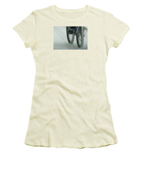 Winter Ride Women's T-Shirt (Junior Cut) by Linda Shafer