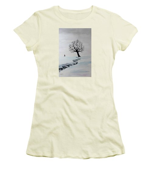Winter Trek Women's T-Shirt (Junior Cut) by Jack G Brauer