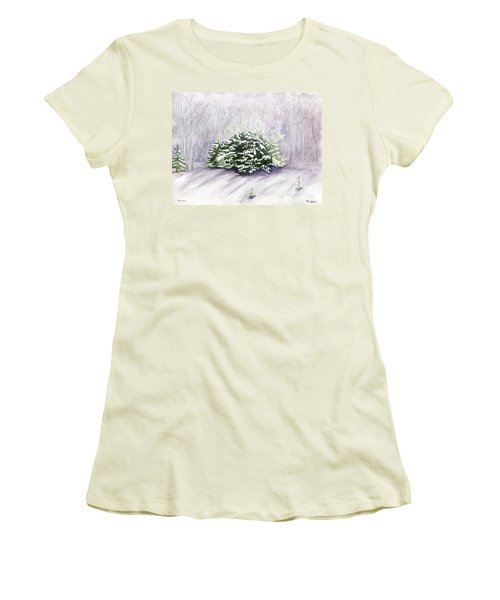 Women's T-Shirt (Junior Cut) featuring the painting Winter Wind by Melly Terpening