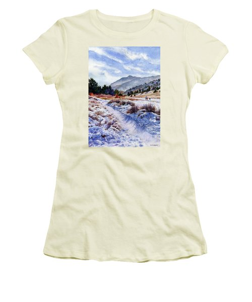 Women's T-Shirt (Junior Cut) featuring the painting Winter Wonderland by Anne Gifford