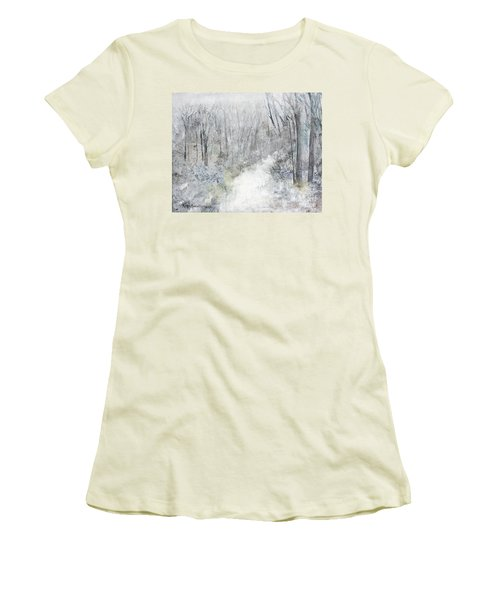 Women's T-Shirt (Athletic Fit) featuring the painting Winter's Day by Robin Maria Pedrero
