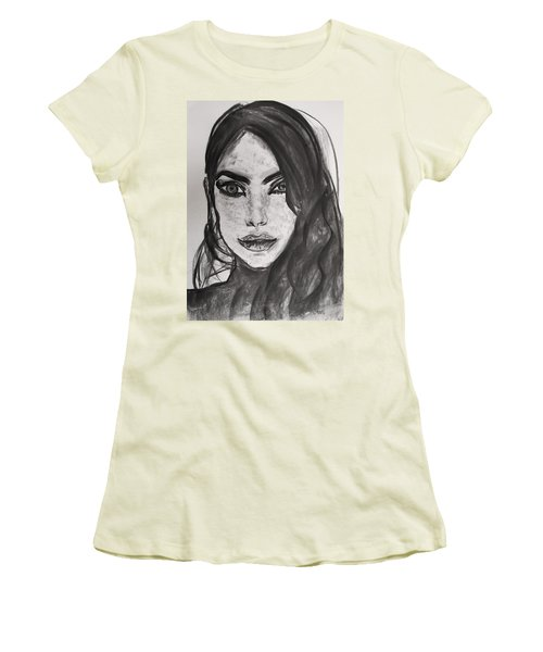 Women's T-Shirt (Junior Cut) featuring the painting Wintertime Sadness by Jarko Aka Lui Grande