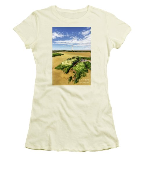 Women's T-Shirt (Junior Cut) featuring the photograph Wirral Lighthouse by Ian Mitchell