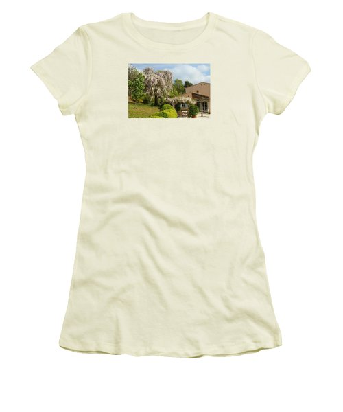 Women's T-Shirt (Junior Cut) featuring the photograph Wisteria by Richard Patmore