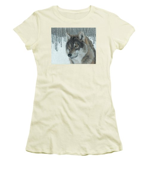 Wolf In Aspens Women's T-Shirt (Athletic Fit)