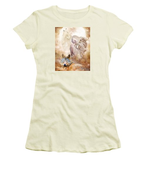 Women's T-Shirt (Athletic Fit) featuring the mixed media Wolf Moon Goddess by Carol Cavalaris
