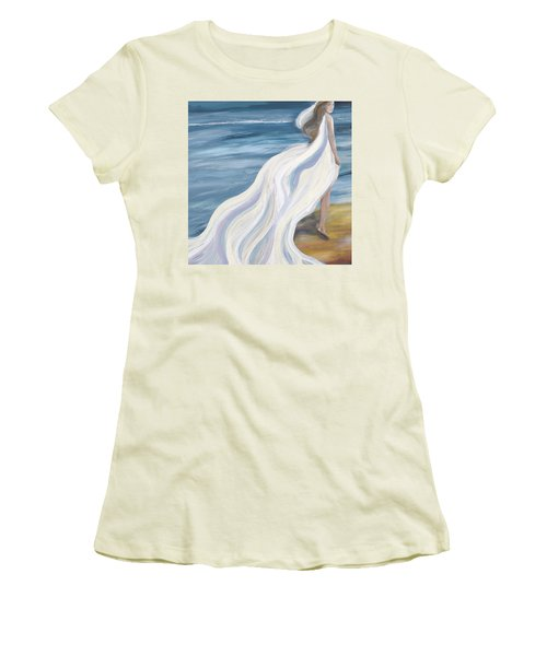 Woman Strolling On The Beach Women's T-Shirt (Athletic Fit)