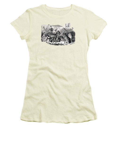 woodcut drawing of South American Maras Women's T-Shirt (Junior Cut) by The one eyed Raven
