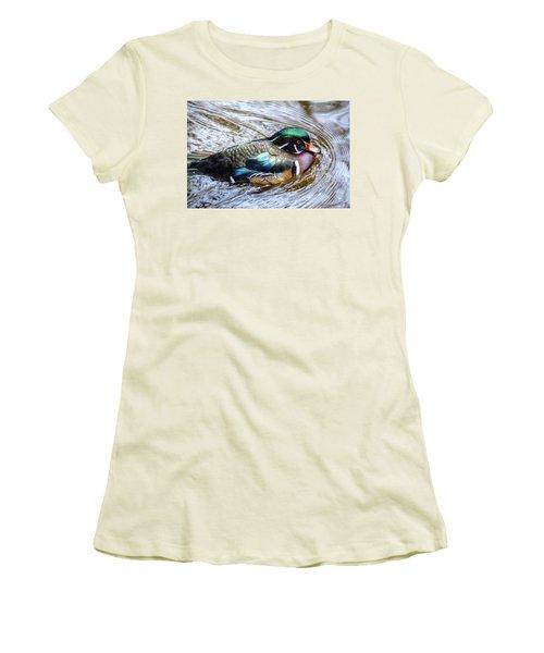 Woodduck Portrait Women's T-Shirt (Junior Cut) by Ronda Ryan