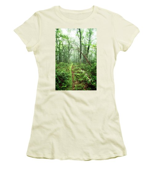 Women's T-Shirt (Athletic Fit) featuring the photograph Wooded Trail by Alan Raasch