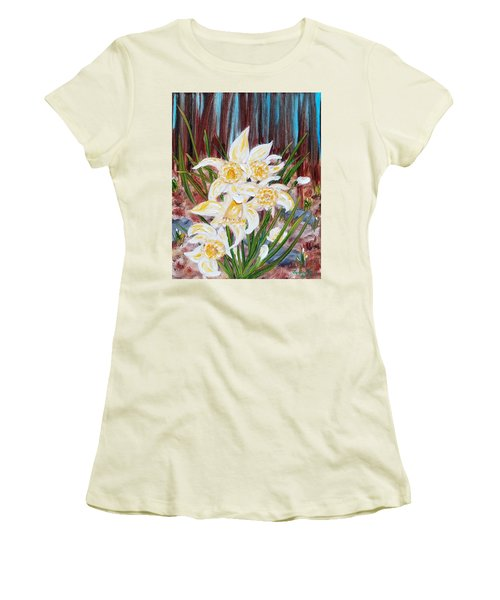 Women's T-Shirt (Athletic Fit) featuring the painting Woodland Daffodils by Judith Rhue