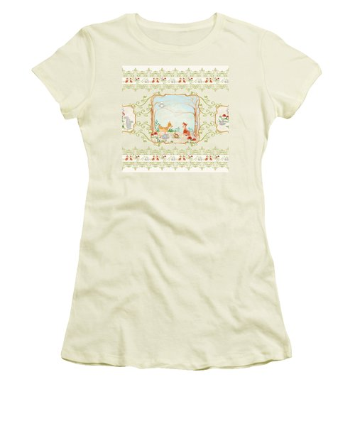 Women's T-Shirt (Junior Cut) featuring the painting Woodland Fairy Tale - Blush Pink Forest Gathering Of Woodland Animals by Audrey Jeanne Roberts