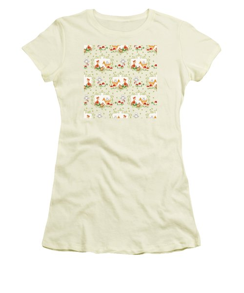 Women's T-Shirt (Junior Cut) featuring the painting Woodland Fairy Tale - Mint Green Sweet Animals Fox Deer Rabbit Owl - Half Drop Repeat by Audrey Jeanne Roberts