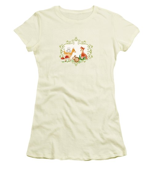 Women's T-Shirt (Junior Cut) featuring the painting Woodland Fairytale - Grey Animals Deer Owl Fox Bunny N Mushrooms by Audrey Jeanne Roberts