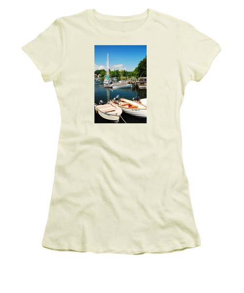 Women's T-Shirt (Junior Cut) featuring the photograph Woods Hole Harbor by James Kirkikis