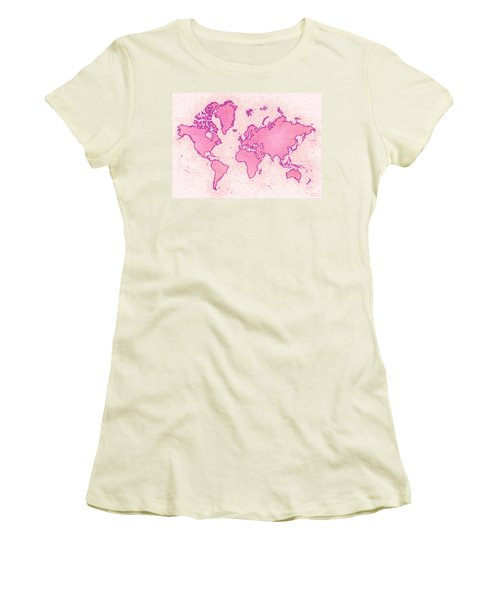 World Map Airy In Pink And White Women's T-Shirt (Athletic Fit)