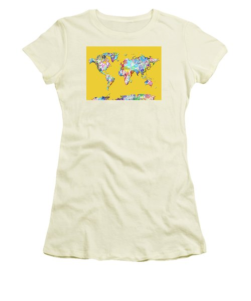 Women's T-Shirt (Junior Cut) featuring the digital art World Map Music 13 by Bekim Art