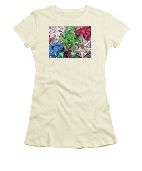 Women's T-Shirt (Junior Cut) featuring the painting Wrap It Up by Lynne Reichhart