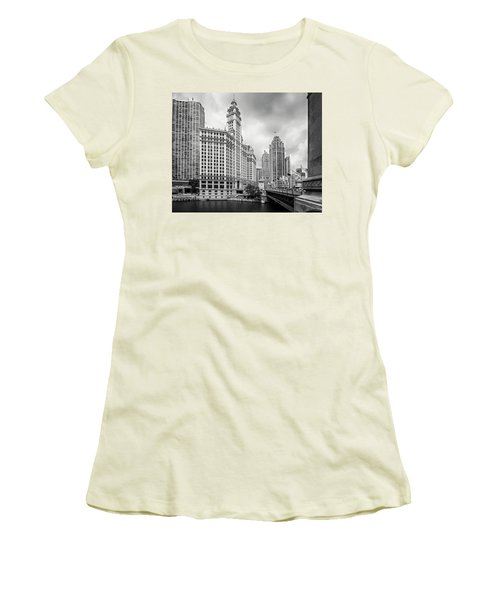 Women's T-Shirt (Athletic Fit) featuring the photograph Wrigley Building Chicago by Adam Romanowicz