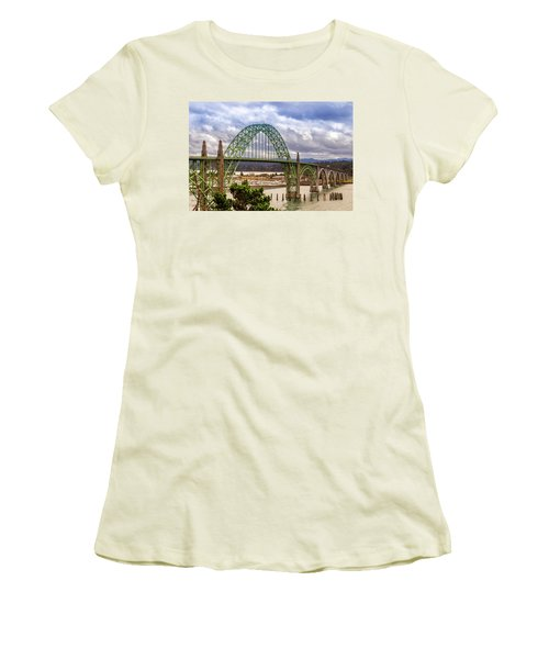 Women's T-Shirt (Athletic Fit) featuring the photograph Yaquina Bay Bridge by James Eddy