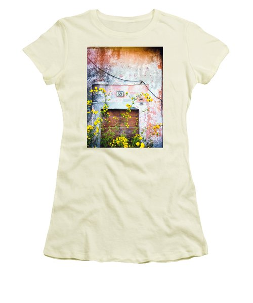 Yellow Flowers And Decayed Wall Women's T-Shirt (Junior Cut)
