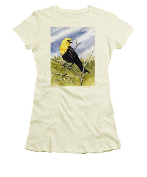 Yellow-headed Blackbird Women's T-Shirt (Junior Cut) by Sam Sidders