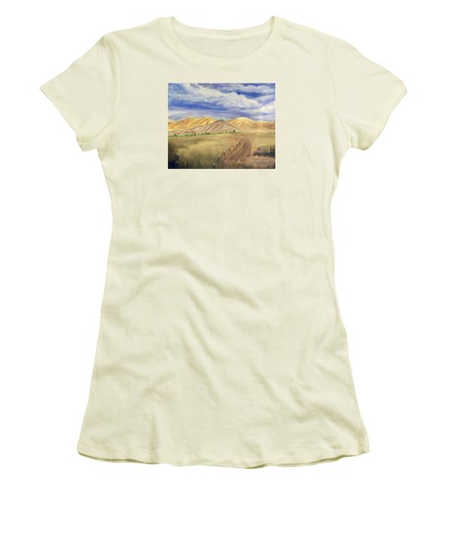 Yellow Hills Of Jensen Women's T-Shirt (Athletic Fit)