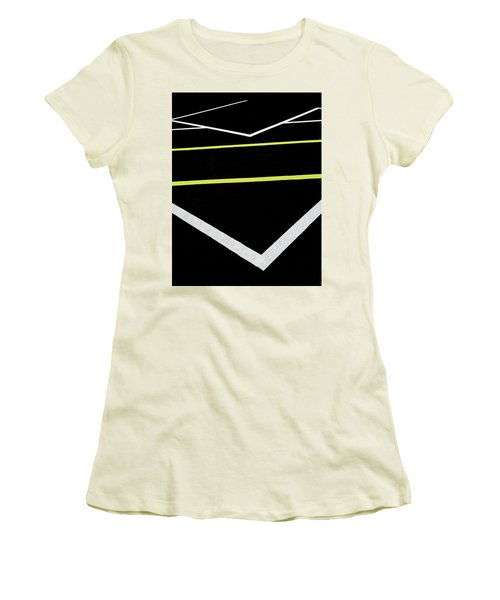 Yellow Traffic Lines In The Middle Women's T-Shirt (Athletic Fit)