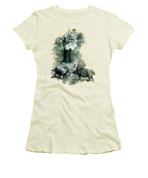 Women's T-Shirt (Junior Cut) featuring the photograph Yohn Pigs  by Robert G Kernodle