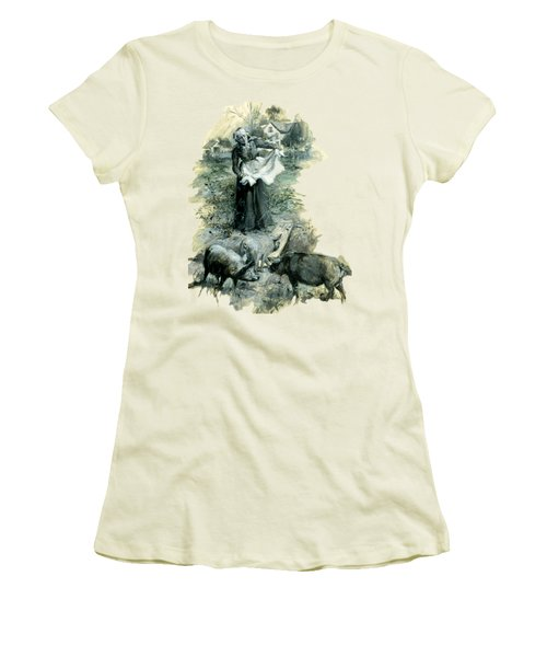 Women's T-Shirt (Athletic Fit) featuring the photograph Yohn Pigs  by Robert G Kernodle