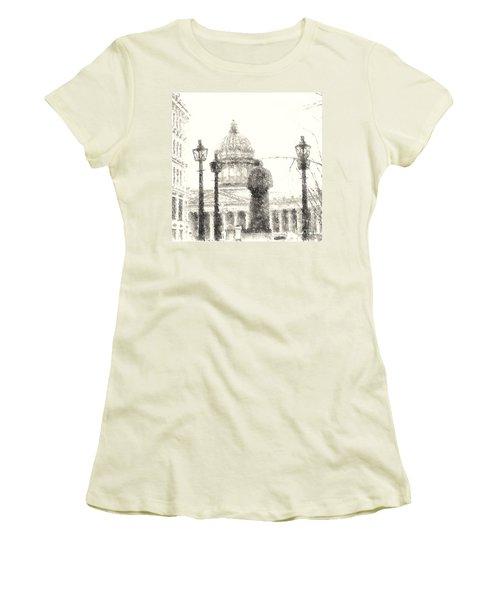 Women's T-Shirt (Junior Cut) featuring the drawing Yury Bashkin City Poem by Yury Bashkin