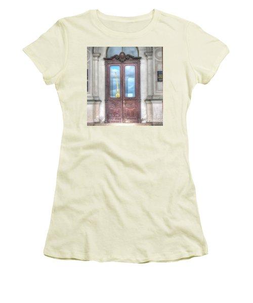 Women's T-Shirt (Junior Cut) featuring the pyrography Yury Bashkin Old Door by Yury Bashkin