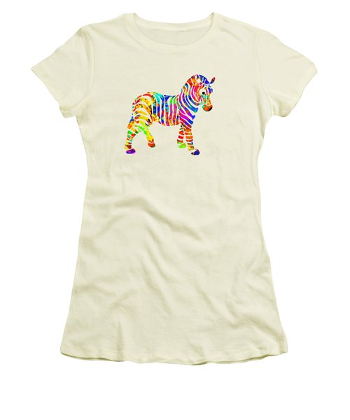 Zebra Women's T-Shirt (Junior Cut) by Christina Rollo
